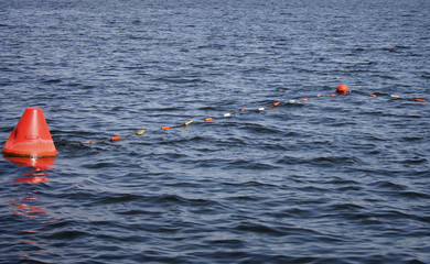 Buoy on lake
