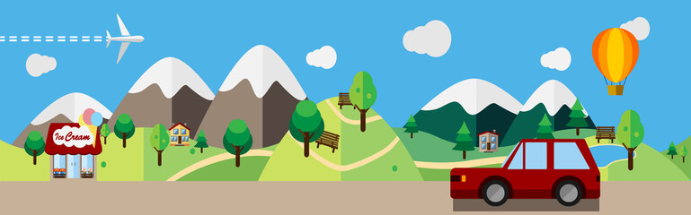 Cartoon illustration of the urban and suburban landscape, colored flat design. Countryside with cars and nature.