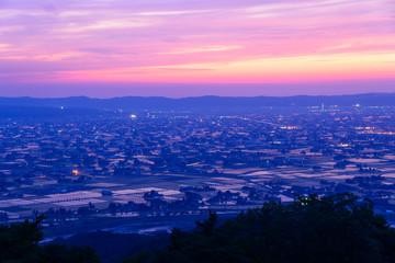 Landscape of Tonami Plain in Toyama, Japan