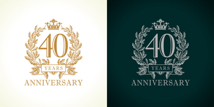 40 anniversary luxury logo. Template logo 40th royal anniversary with a frame in the form of laurel branches and the number forty.