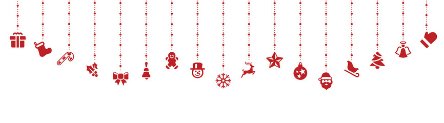 Wall Mural - red christmas elements hanging swing