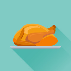 Fried chicken or turkey flat icon