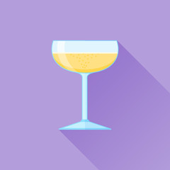 Glass of champagne flat icon