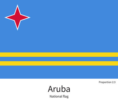 National flag of Aruba with correct proportions, element, colors