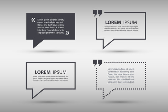 Set of quote text bubble template. Quote bubble. Quote form. Vector illustration.