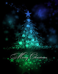 Merry Christmas. Blue and green background with a christmas tree and Merry Christmas Text