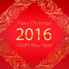 2016. Merry Christmas and happy new year. Gold numbers and lettering on a red background. Template invitations, greeting cards,holiday cards.Vector decorative line art frame design template.