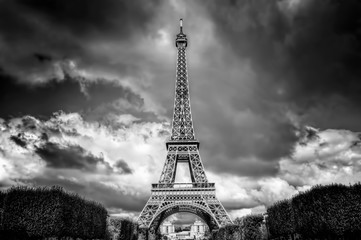 Eiffel Tower seen from Champ de Mars park in Paris, France. Black and white