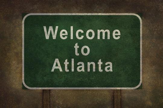 Welcome to Atlanta roadside sign illustration