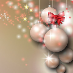 Abstract background with Christmas silver baubles, bow and stars.