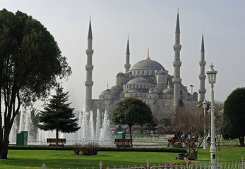 Istanbul, la mosquée Bleue au lever du soleil, Turquie