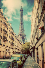 Eiffel Tower seen from the street in Paris, France. Vintage
