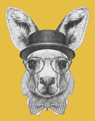 Portrait of Kangaroo with hat, glasses and bow tie. Hand drawn illustration.
