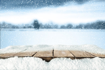 wooden desk space and snow