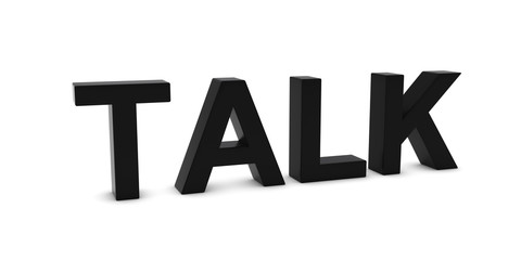 TALK Black 3D Text Isolated on White with Shadows