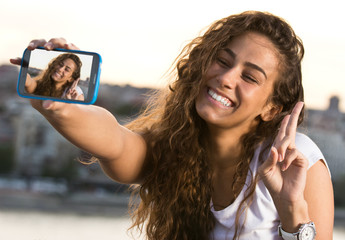 Beautiful girl taken pictures of her self