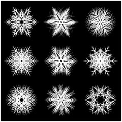 Snowflake silhouette icon, symbol, design. Winter, christmas vector illustration isolated on the black background.
