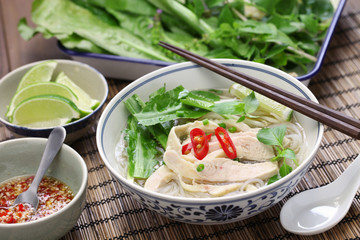 pho ga, vietnamese chicken rice noodle soup