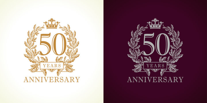 50 anniversary luxury logo. Template logo 50th royal anniversary with a frame in the form of laurel branches and the number fifty.