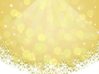 Yellow background with snowflake and bokeh