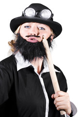 Woman Dressed Like Man With Large Pencil