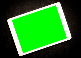 Tablet with green screen