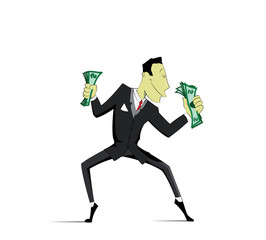 Successful Businessman dancing with money