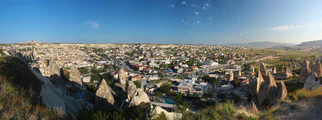 Panorama of ancient cave city of Goreme in Cappadocia, Turkey