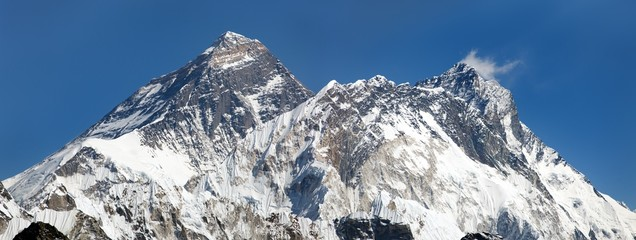 Panoramic view of Everest, Lhotse and Nuptse