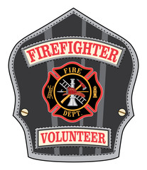 Firefighter Volunteer Badge is an illustration of a firefighter's or fireman's shield or badge with a Maltese cross and firefighter tools logo.