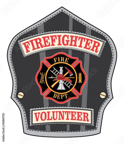 firefighter volunteer badge is an illustration of a firefighter s or fireman s shield or badge. Black Bedroom Furniture Sets. Home Design Ideas