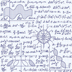 "Math vector seamless pattern with science drawings, tasks solutions, plots, figures, formulas, ""handwritten on a copybook paper"""