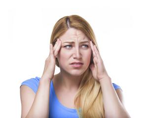 Girl Headache isolated.