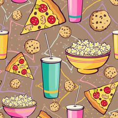 Vector Brown Slumber Party Food Seamless Pattern. Pizza. Drink. Cookie. Popcorn. Snack