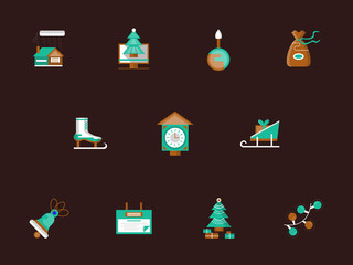 Flat color winter holidays icons set