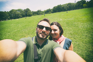 Couple makes a selfie in Central Park in New York City