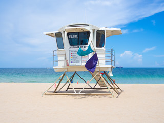 Lifesaver hut  at Fort Lauderdale beach in Florida on a summer d