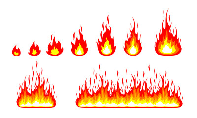 set of fire, flame, vector fire logo design,