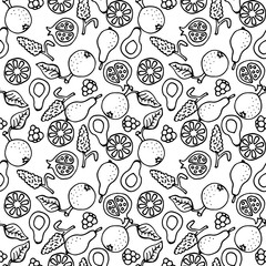 Fruit doodle hand drawn seamless vector pattern. Ink pen sketched food black and white coloring background.
