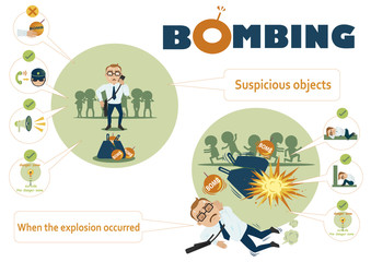 How's life on the bombings Infographic.vector illustration