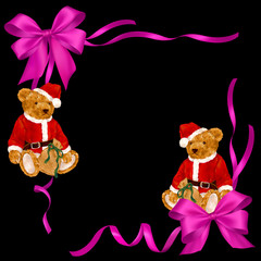 サンタクロース熊のリボン飾り