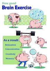 Brain are exercising Vector Illustration.