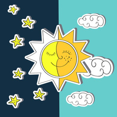 Day and night. Doodle vector illustration of sun, moon, clouds and stars.