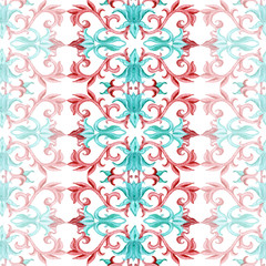 Acrylic Prints Moroccan Tiles Chinese watercolor seamless pattern