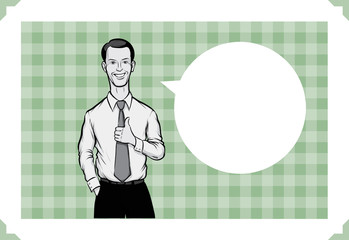 Greeting card with businessman showing thumb up - place your custom text