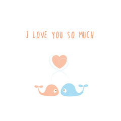 Vector card by Valentine's Day with couple of whales in love.