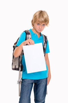 boy with bad report card