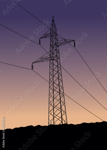"""High voltage power lines in sunset"" Stock photo and ..."