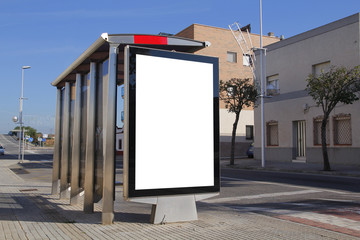 Bus stop with blank advertisement