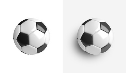 A soccer ball isolated on a white background. With shadow and without shadow.